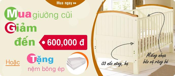 Mua giường cũi đến 600.000 đ hoặc tặng nệm bông ép