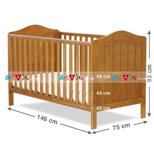 Kích thước tổng thể với 03 tầng (nấc)) nâng, hạ chiều cao sàn giường cũi của cũi trẻ em Darling màu tự nhiên