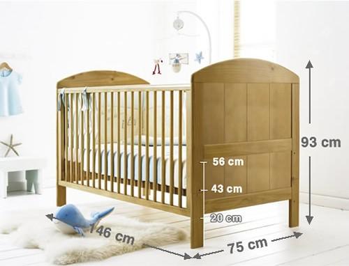 Kích thước tổng thể với 03 tầng (nấc) nâng, hạ chiều cao sàn giường cũi của cũi trẻ em Lido màu tự nhiên