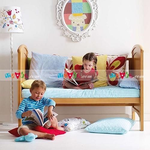 Cũi trẻ em Darling màu tự nhiên ráp thành ghế sofa cho trẻ lớn