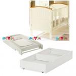 Henley trắng: giường cũi, bàn thay tã, ngăn kéo chứa đồ