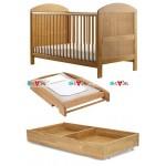 Lido tự nhiên: giường cũi, bàn thay tã, ngăn kéo chứa đồ