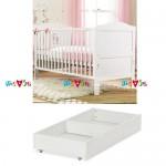 Shoreditch trắng: giường cũi, ngăn kéo chứa đồ