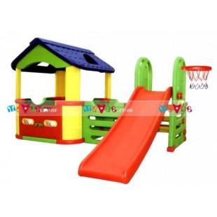 Cầu tuột bóng rổ nhà liên hoàn mái che