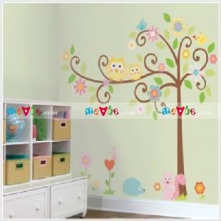 Decal dán tường Cute Owl Tree Peel